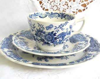 Ridgway Windsor blue teacup trio tea cups blue floral teacup vintage blue teacup blue english transfer ware Asiatic Pheasants 612