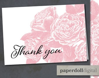 """Printable Victorian Floral Thank You Card Instant Download - 5""""x3.5"""" Pink Rose Vintage Style Printable Thank You Card"""