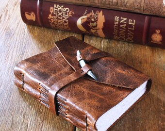 "Leather Journal - ""Live in the sunshine, swim the sea, drink the wild air"" - Ralph Waldo Emerson . dark brown & grey shell peg/tusk (320pgs)"