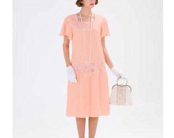 Peach Downton Abbey chiffon dress with flutter sleeves, 20s high tea dress, 1920s flapper dress, 1920s bridesmaid dress, Great Gatsby dress