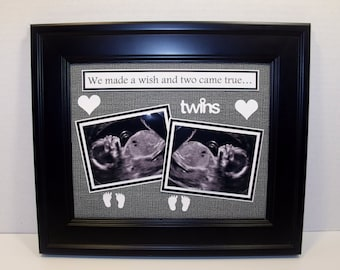 Twins Sonogram Ultrasound Sonogram Photo Mat - We Made a Wish and Two Came True - UNFRAMED INSERT for 8x10 frame (any colors you choose)