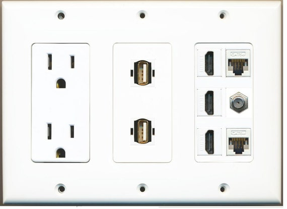 riteav 15 amp power outlet 2 usb 3 hdmi 2 ethernet 1 coax cat5 wiring to a wall outlet wiring a 4 prong plug to a 3 prong outlet