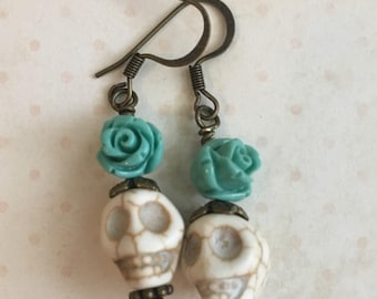 Blue Roses Day of the Dead Earrings