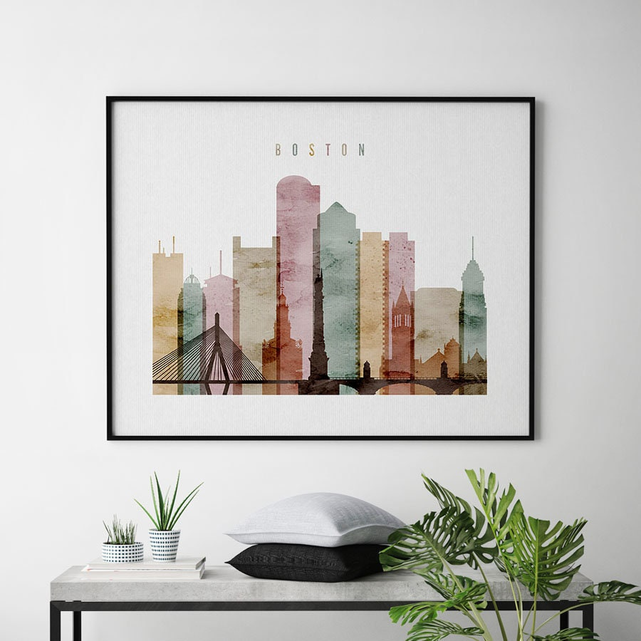 Boston Print, Boston Poster, Boston Wall Art, Boston Skyline,  Massachusetts, Travel, Gift, City Poster, Home Decor, ArtPrintsVicky