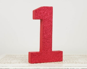 Red Glitter Number 1 - Birthday Party Decor - Curious George - Sock Monkey - Snow White - Toy Story - Big Number for Birthday Party
