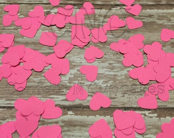 Hot Pink Paper Heart Confetti, Bachlorette Party Table Decor, Girl Birthday Party Hearts Neon Pink Table Scatter