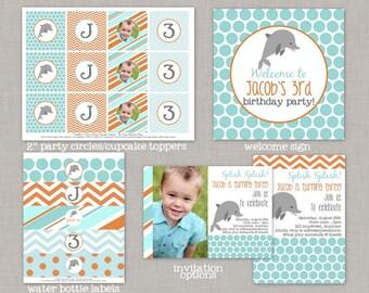 Dolphin Birthday, Dolphin Birthday Decorations, Dolphin Party, Printable