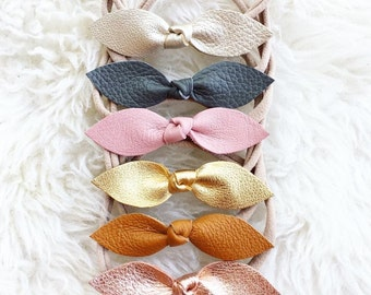 Genuine Leather Hair Bow, Nylon Headband, Gold Leather Bow - Platinum