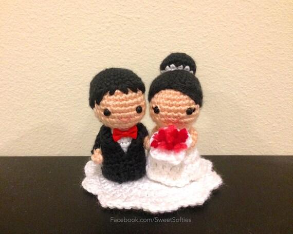 Amigurumi Häkeln Hochzeit paar Kokeshi Puppe Muster Chibi