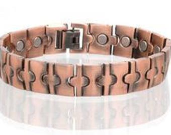 "Copper Magnetic Bracelet # 1.... 8 1/2' Long + 1/2 "" Wide.... FREE SHIPPING USA"