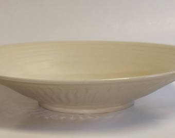 Pottery Serving Bowl - Off White or Eggshell - Textured Exterior - Shallow Bowl - 9 3/4 Inches in Diameter - 2 Inches Tall- Wheel Thrown