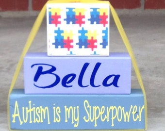 Autism Awareness wood block set autism is my superpower personalized