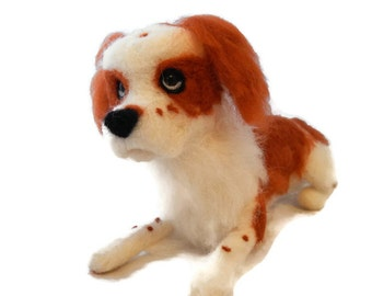 Custom King Charles Spaniel - soft dog plushie sculpture - Personalised Dog Sculpture - Memorial dog sculpture - Scottish artist
