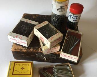 Vintage Lot 1960s Hardware Store Items Tacks Staples Nails - S1-L1