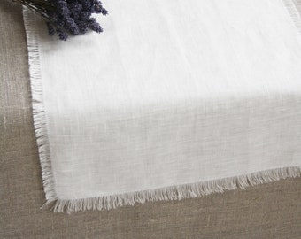 White rustic runner Prewashed natural linen table runner Washed flax table topper Soft linen Farmhouse shabby chic style fringe runner