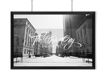 The Oak City - Raleigh, NC - Black & White Print