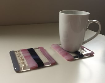 REDUCED PRICE! Set of 2 glass drinks coasters 'Glamour 3'