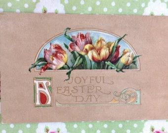 Art Deco Easter Postcard Tulips Spring Lithograph by Gibson Art Co. Circa 1925