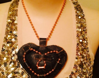 Distressed Leather Chunky Puffed  Heart Necklace.