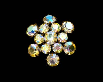Aurora Borealis Rhinestone Brooch, AB Cluster, Statement Brooch, Runway Style, Open Back Settings, Gift for Mom, Gift For Her