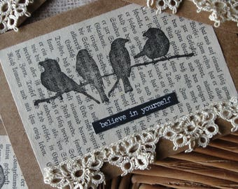 Blackbird Blank Greeting Cards (4), Inspiration, Vintage Crochet Lace, Rustic, Shabby Lace