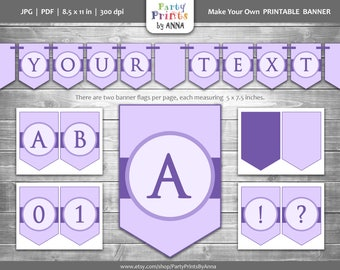 Purple Party Banner - Printable, Customizable A-Z Letters & Numbers Bunting Pennant Banner, Birthday Banner, Photoshoot Prop,Lilac, Lavender