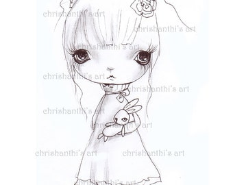 INSTANT DOWNLOAD Digital Digi Stamps..by Chrishanthi's art,The bunny doll.