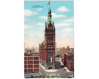 Milwaukee Wisconsin vintage linen postcard | City Hall | 1940s WI travel decor, vacation souvenir | hometown postcard, historic building