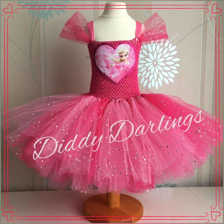 Vestido rosado del tutú Elsa. Vestido de Elsa de corazón Rosa.