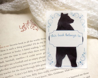 bear book plates - kids bookplates - bookplate stickers - childrens bookplates - Ex Libris - blue book plate
