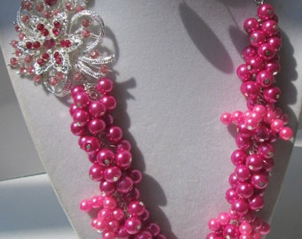 Two Tone Pink Glass Pearl Necklace set