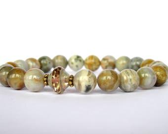 Ocean Jasper Bracelet, Womens Beaded Bracelet, Czech Saturn Bracelet, Womens Jasper Bracelet, Gemstone Bracelet, Stretch Bracelet