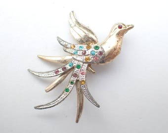 Colorful Bird Brooch gold tone and silver tone AB196