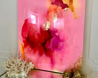 "Sold! Acrylic Abstract Art Large Canvas Painting Gold Pink, Pastel, Ikat Ombre Glitter with Glass and Resin Coat 40"" x 30"" Gold Leaf"