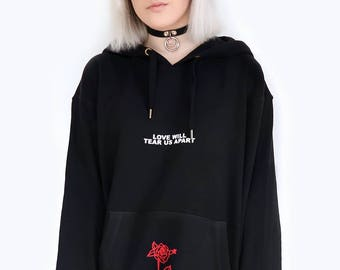 Love Will Tear Us Apart Rose Hoodie Sweater Sweatshirt Black Tumblr Inspired Aesthetic Pale Pastel Grunge Aesthetics