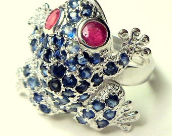 Blue Sapphire, Pave Setting, Frog Ring, Red/Pink Ruby Eyes, Little Critter on Your Finger, Adjustable, Sterling Silver Setting, Pick Size