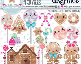 Gingerbread Clipart, 80%OFF, Gingerbread Graphics, COMMERCIAL USE, Gingerbread Party, Planner Accessories, Christmas Clipart