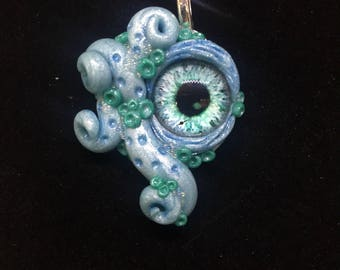 Blue and Aqua Tentacle Creature Pendant