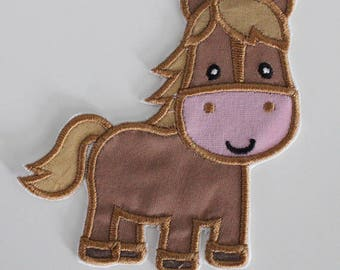 Pony Patch, Horse Applique, Embroidered Horse, Iron On Patch, Applique Patch, Embroidered Patch, Horse Patch, Sewn On Patch, Brown Pony