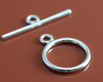 925 Sterling Silver Toggle Clasp Round 12mm - Select Pack Size