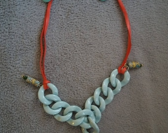 leather and acrylic chain necklace with agate stone pendant