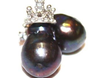 Peacock Pearl Earrings Large Pearl Earrings Baroque Pearl Stud Earrings Crown Earrings Tiara Earrings Purple Pearl Jewelry FizzCandy
