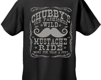 Chubby's Old Fashioned Wild Mustache Ride Men's T-Shirt - #B330