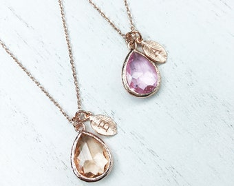Initial Leaf Glass Teardrop necklace, personalized necklace, Mother's Day gift, bridesmaid gift, rose gold necklace, birthday gifts for her