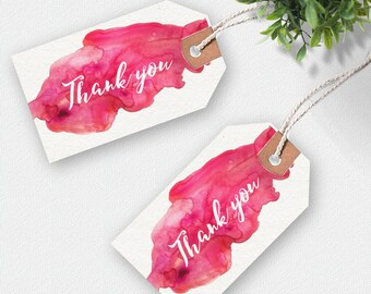 Thank you printable tags, party tags, wedding tags, birthday tags, printable tags, favour tags, printable gift tags,  watercolour pink tags