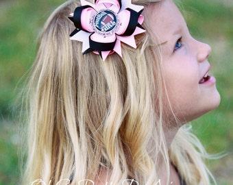 Football Hair Bow - Pink and Black Hair Bow - Football Girl Hair Bow - Football - Hair Bows - Sports Hair Bow - Football hair Clip