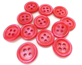Pink Pearl Vintage Buttons - 12 Antique Mother of Pearl 5/8 inch 15mm for Jewelry Beads Sewing Knitting
