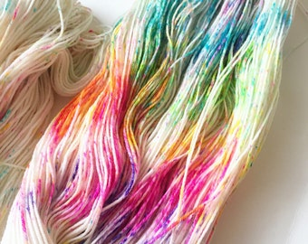 Unicorn Party Rainbow Speckled Sock Yarn