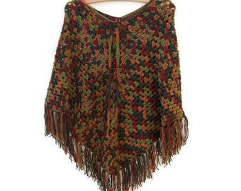 Crochet Granny Poncho - Green, Red, Persimmon - Acrylic