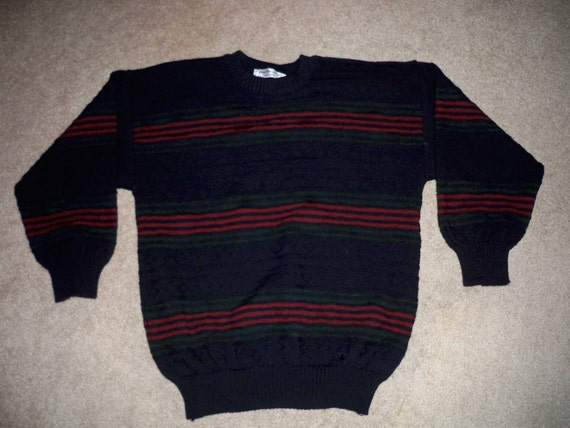 3D England in Wool Burberrys 42 Crewneck Sweater Pure Vintage Textured Men's Size Biggie Ugly Made 5f6wWOYq